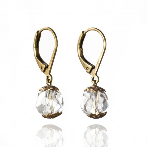 leverback drop earrings with faceted rock cristal beads