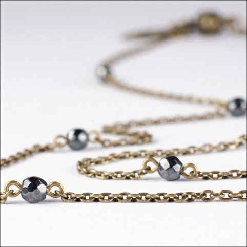 thin chain necklace with tiny semi precious stone beads