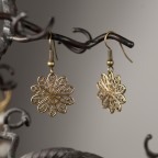 Antique brass earrings with filigrees sun shape Soleil Soleil
