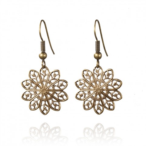 Antique brass earrings with filigrees Soleil Soleil