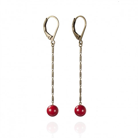Long earrings whith coral beads and rope chain - Andante