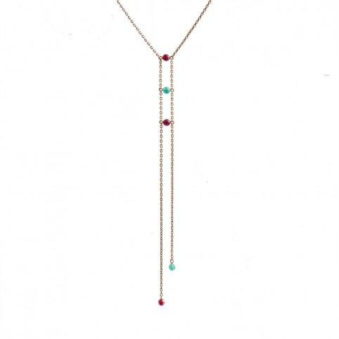 Alexandria Necklace - Thin chain, dark red and light green dyed jade stone beads
