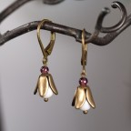 leverback small flower earrings with agate and garnet beads