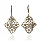 Antique brass filigree earrings - Victoire