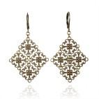 Antique brass filigree earrings - Victoire