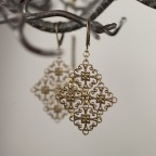 Antique brass earrings with filigrees Victoire