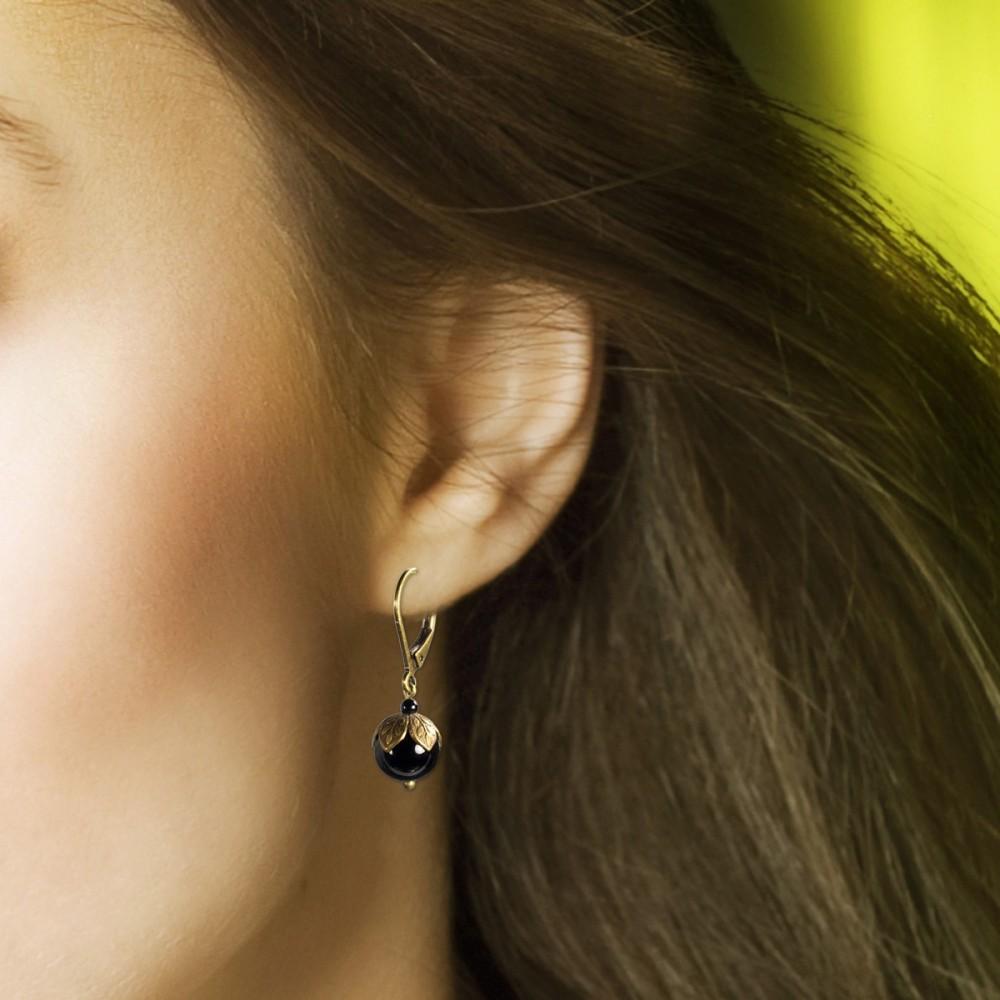boucle oreille perle bleue