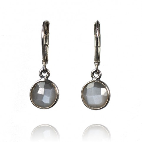 Antique 925 silver earrings with labradorite