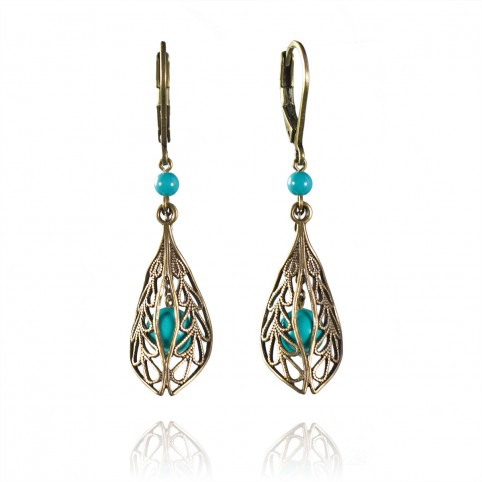 Boucles d'oreilles Falbala turquoise