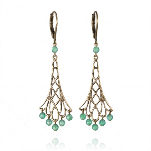 filigree earrings with gemstone beads