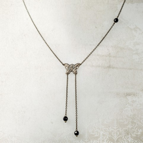 Antique brass necklace with small openwork butterfly pendant and semi precious stone beads - Envol
