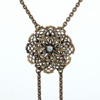 Ingenue - antique brass necklace with filigree flower and scwarovski crystal beads