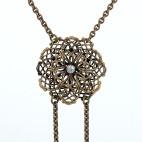 L'ingénue - Collier bronze, fleur ajourér et cristal de swarovski