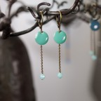 Earrings with enamel charms and semi precious stone beads