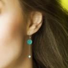 Boucles d'oreilles rondes émail et pierres fines - picadilly