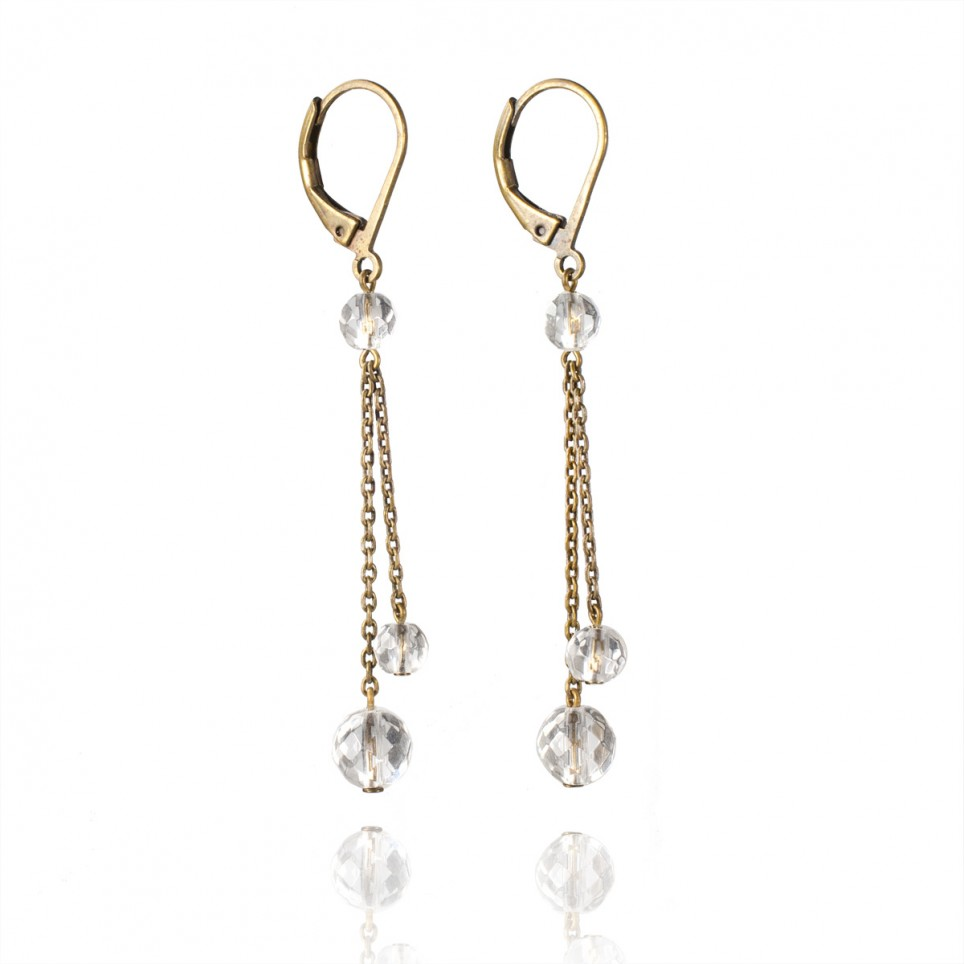 Antique brass drop earrings with rock crystal beads