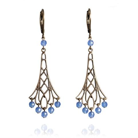 filigree earrings with gemstone beads