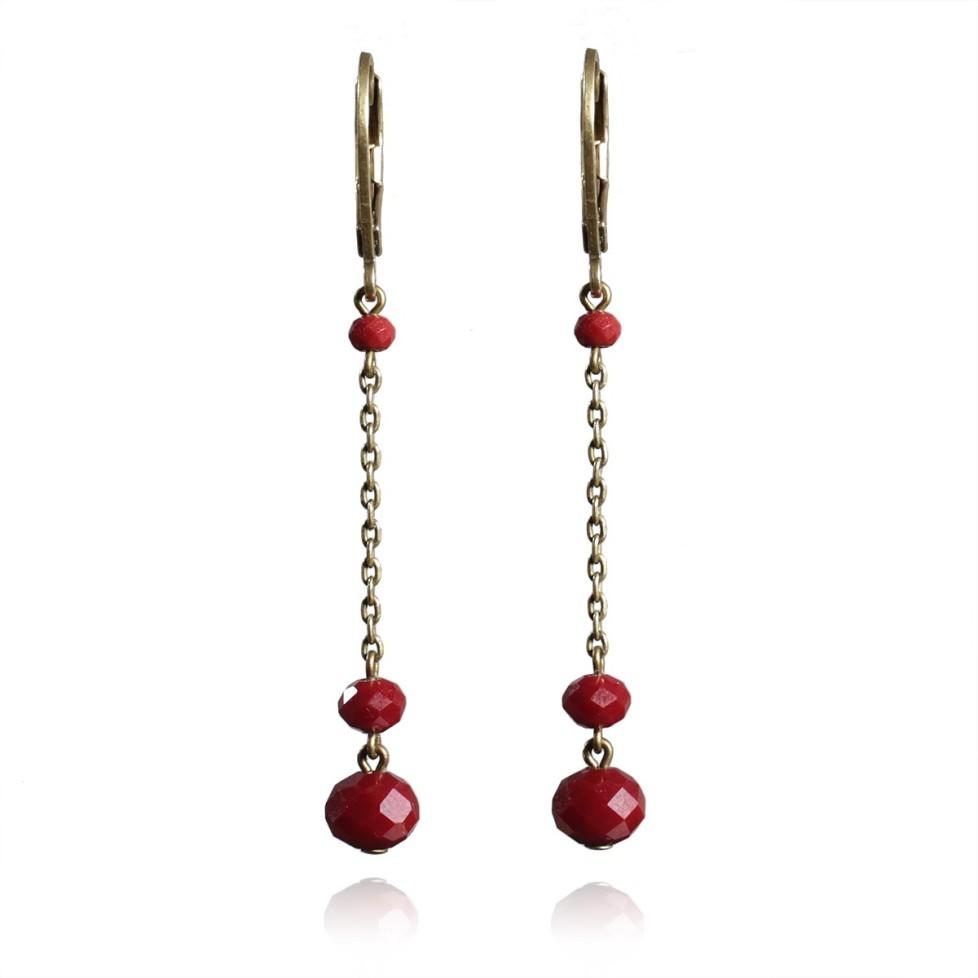 Boucles d'oreilles pendantes rouge vif et bronze dormeuses
