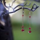 dormeuses perles rouge et bronze