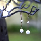 Antic brass leverback drop earrings frosted crackled rock crystal beads