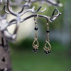 Antique brass leverback drop earrings with black onyx beads