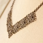 Victoire - antique brass necklace, V shape