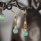 boucle d'oreille bleue verte dormeuses bronze pierre semi précieuse