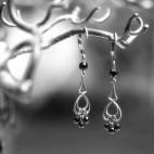 Boucles d'oreilles pendante bronze et onyx noir et or