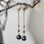 Antique brass leverback long earrings with grey metal hematite beads