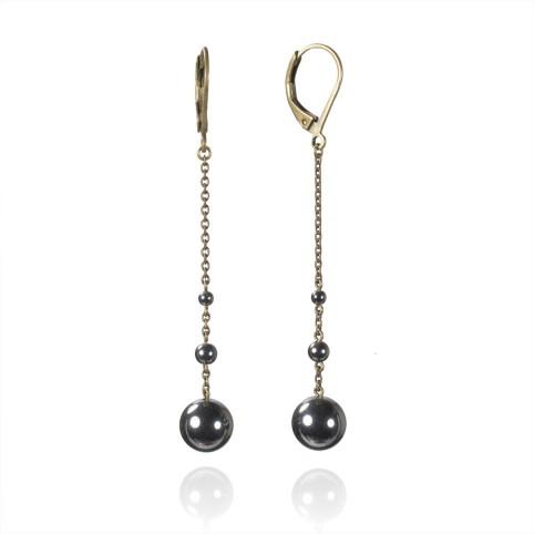 Boucles d'oreilles longues 3 perles