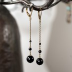 Antique brass leverback long earrings with black onyx beads