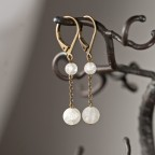 dormeuses bronze et perles en cristal de roche dépoli