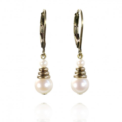 Small drop leverback earrings with pearls