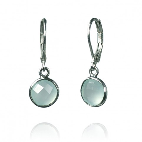 chalcedony earrings sterling silver leverback