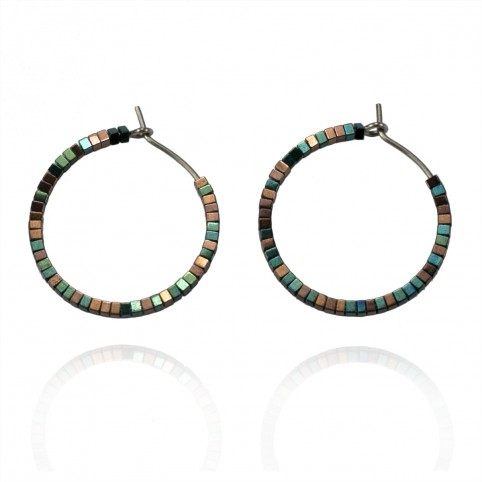 Pure titanium hoop earrings - green and copper color