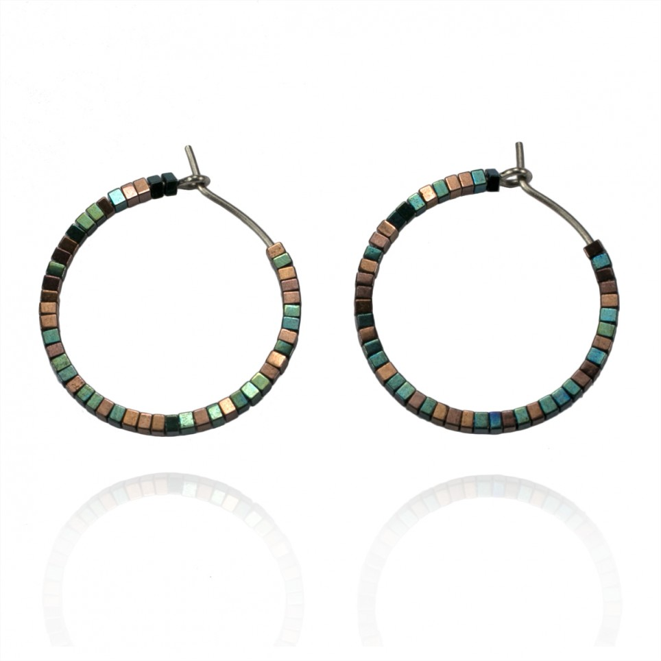 boucles copper hoop hematite oreilles d with beads earrings pure titane en bijoux color green hypoallergenic and tiny spark titanium