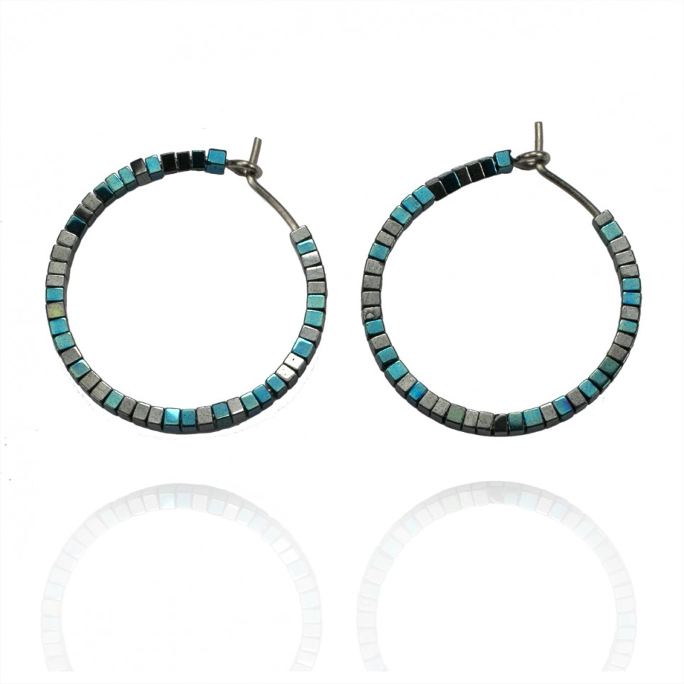 Titanium hoop earrings with tiny blue and grey hematite beads