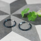 hypoallergenic earrings with blue and grey beads