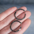 titanium hypoallergenic hoop earrings blue and grey