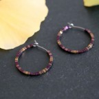 titanium hoop earrings hypoallergenic plum color