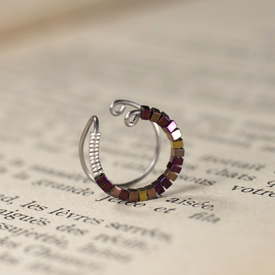 cartilage hoop ear cuff with tiny purple and copper hematite beads- Spark