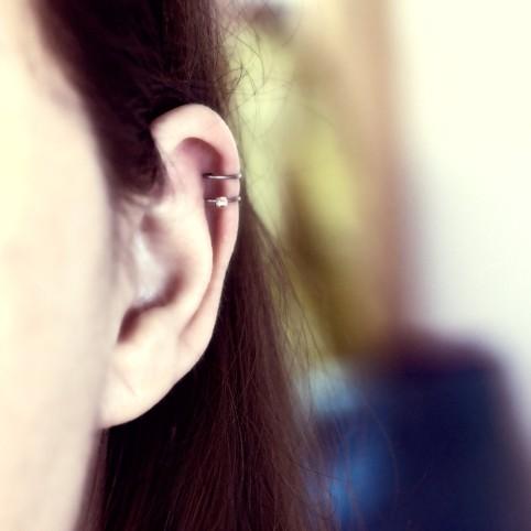 Bague d'oreille en Titane, perle d'argent à facettes