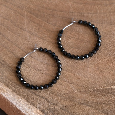 handmade hypoallergenic titanium hoop earrings with black spinel beads