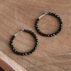 Saturn - Pure titanium hoop earrings with tiny black spinel beads