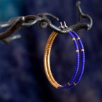 blue and gold hoop earrings - pure titanium - hypoallergenic