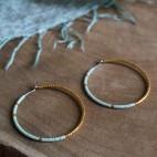 Boucles d'oreilles vertes hypoallergéniques - Titane pur et perles de verre