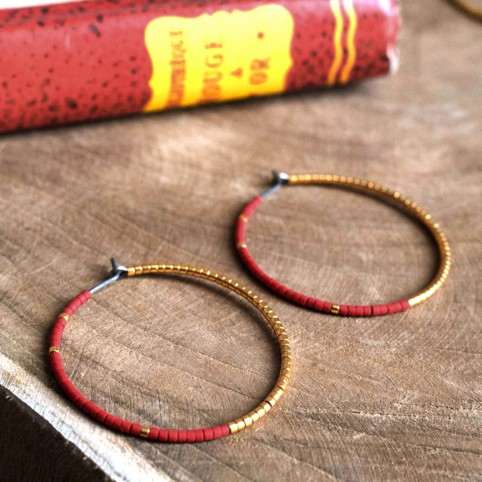 Pure titanium hoop earrings with red and gold glass beads - hypoallergenic earrings for sensitive ears