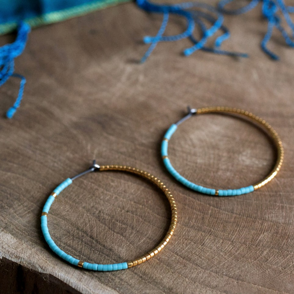 Pure titanium hoop earrings with turquoise and gold glass beads - hypoallergenic earrings for sensitive ears