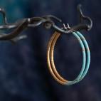 boucles d'oreilles hypoallergéniques turquoise et or - créoles en titane pur