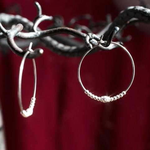 Pure titanium hoop earrings with silver beads - hypoallergenic earrings